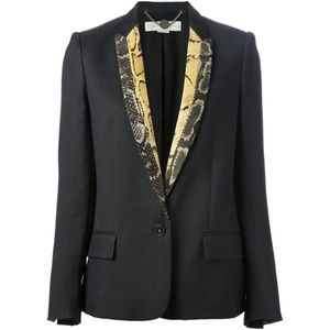 Stella McCartney Python-Print-Lapel Black Blazer
